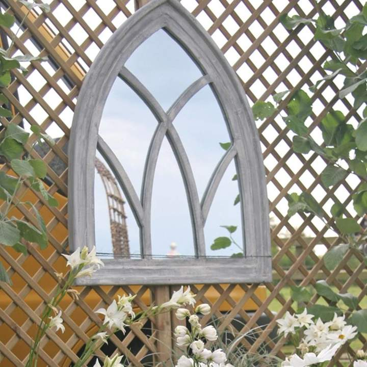 Garden Selections Grey Wooden Gothic Arch Mirror