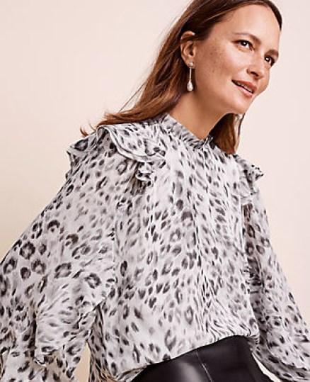 Ann Taylor - snow leopard flutter shoulder blouse