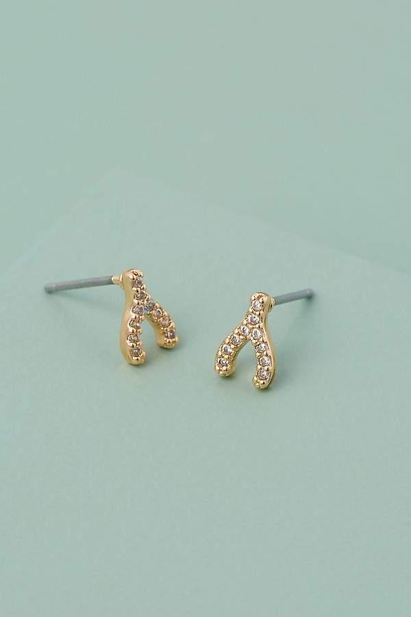 Gemstone-Embellished Wishbone Earrings