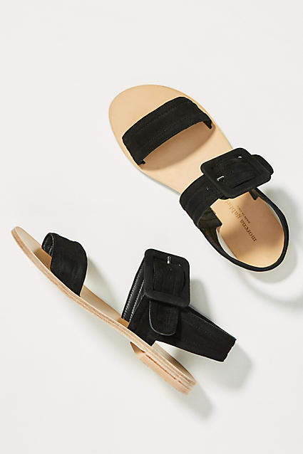 Anthropologie Morena Gabrielli Suede Buckle Sandals