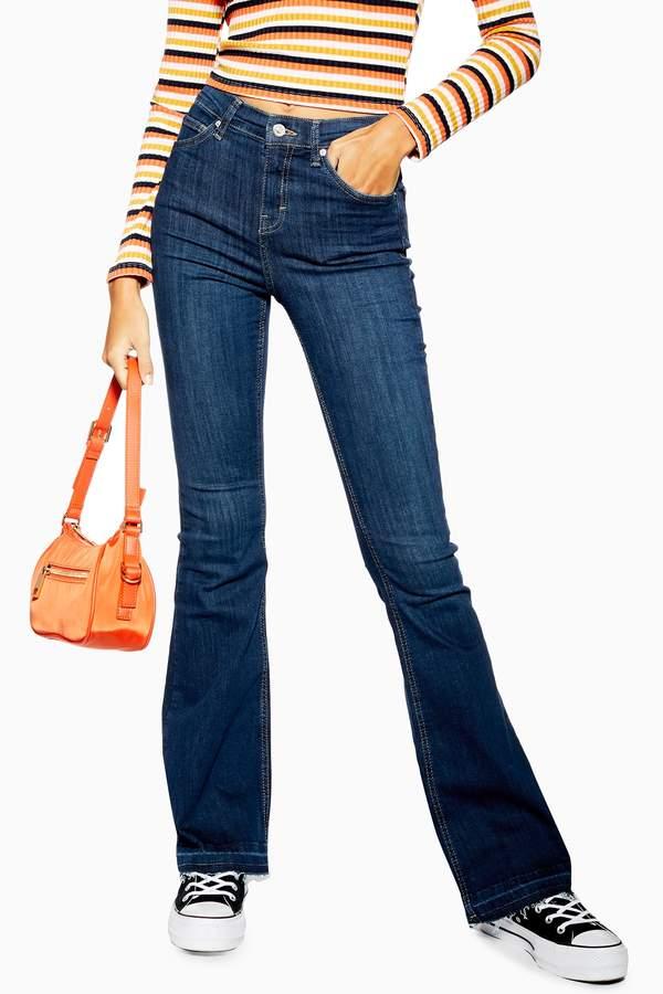 Womens Indigo Hem Jamie Flare Jeans - Indigo