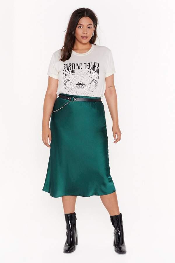 Nasty Gal Womens Just My Type Plus Satin Midi Skirt - Beige - 16