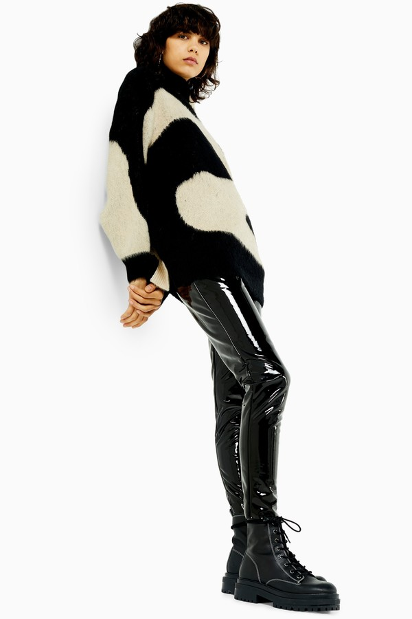 Topshop Womens Idol Black Skinny Vinyl Trousers - Black