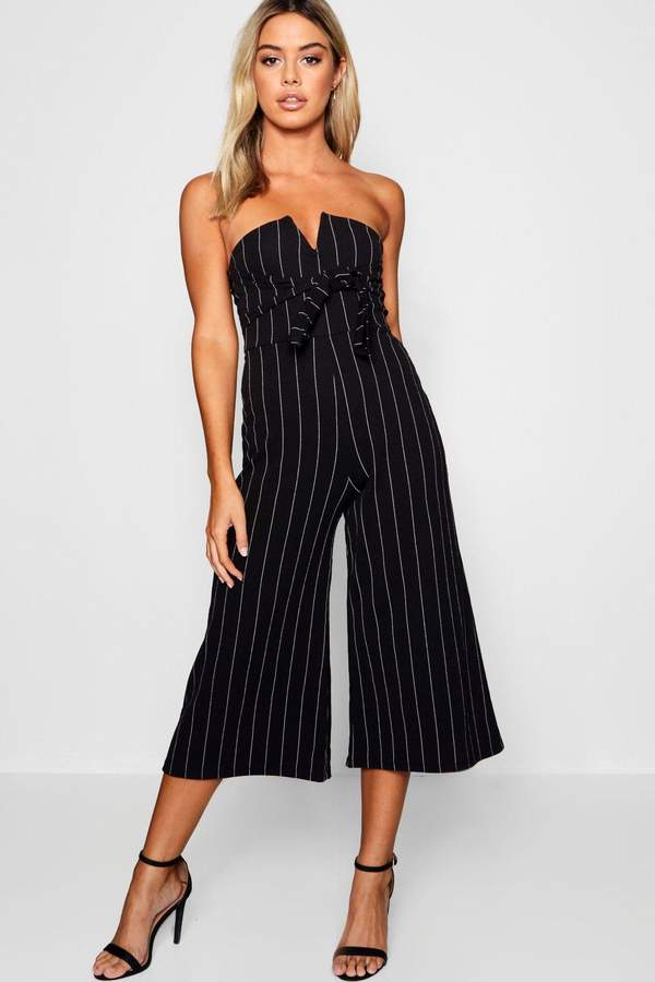 Petite Stripe V-Bar Tie Detail Jumpsuit