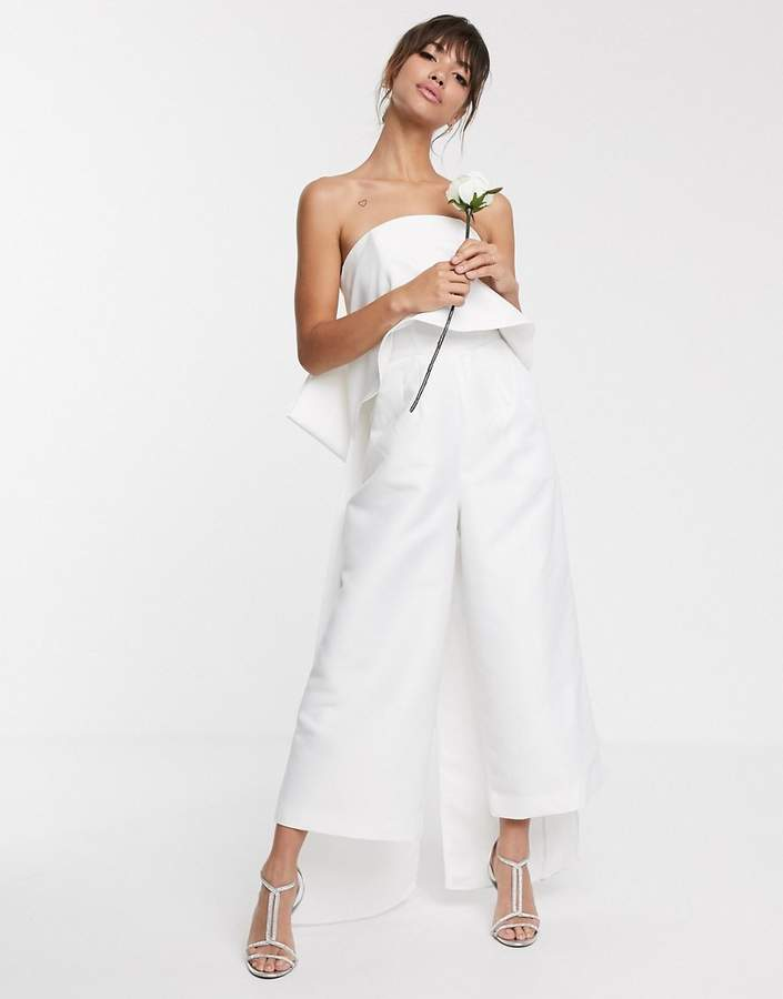 Asos Edition ASOS EDITION bandeau wedding jumpsuit with bow detail