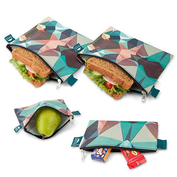 Nordic By Nature Premium Camo Sandwich & Snack bags | Designer Set of 4 Pack | Resealable, Reusable and Eco Friendly Dishwasher Safe Lunch Bags | Functional Easy Open Zipper | Great Lunch & Meal Prep
