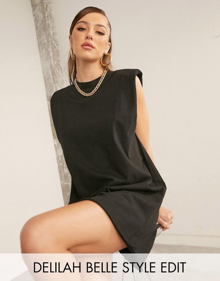 Asos Design ASOS DESIGN t-shirt mini dress with padded shoulders in black