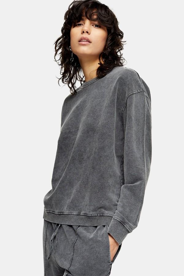 Womens Charcoal Grey Acid Wash Sweatshirt - Charcoal