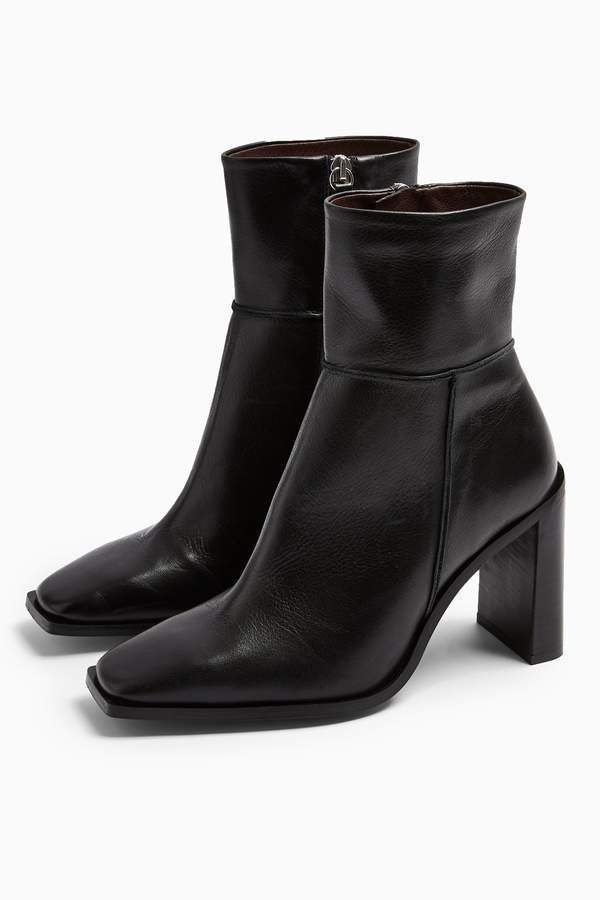 Topshop Womens Hero Leather Black Boots - Black