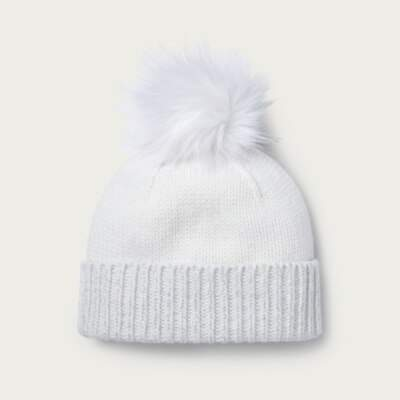 The White Company Lurex Hem Beanie Hat, Cream, One Size
