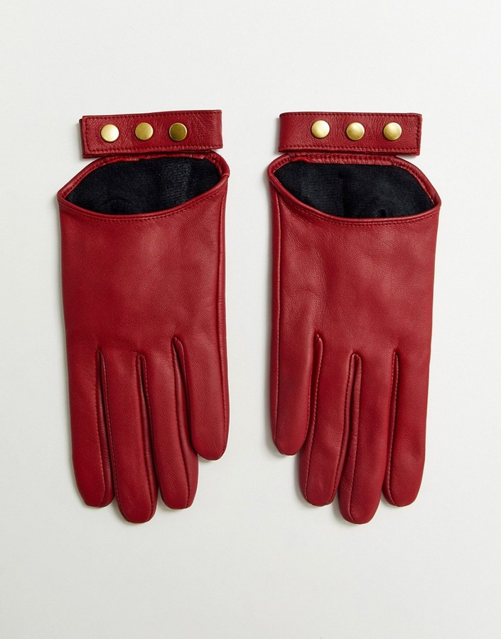 ASOS DESIGN leather touch screen gloves in red