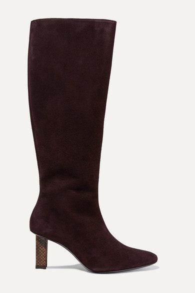 STAUD - Benny Snake-effect Leather-trimmed Suede Knee Boots - Brown