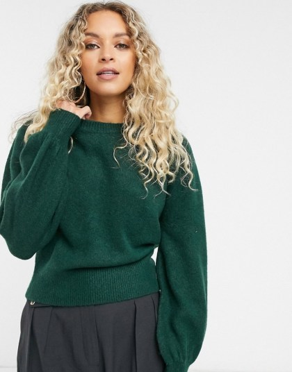 & Other Stories moss green balloon sleeve sweater