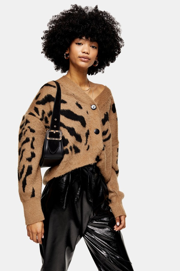 Womens Camel And Black Animal Marking Knitted Cardigan - Brown