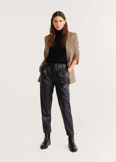 MANGO Leather effect high waist pant
