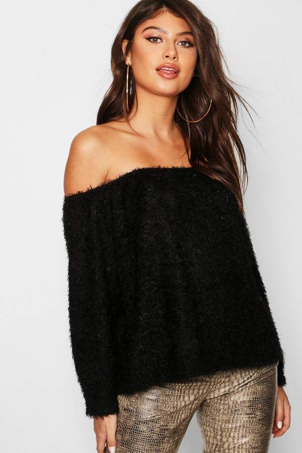 boohoo Fluffy Knit Oversized V Neck Sweater