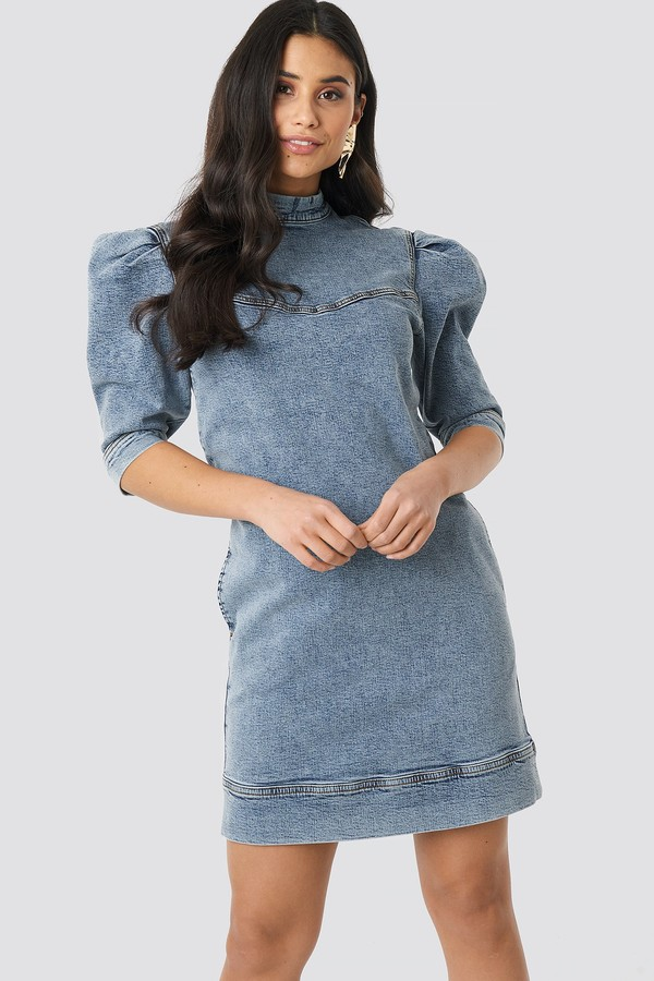 NA-KD Puff Sleeve Denim Mini Dress