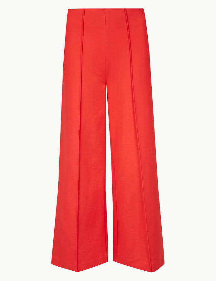 M&S Collection Ponte Wide Leg 7/8th Trousers