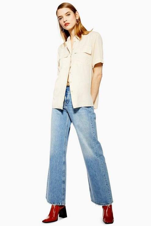Topshop Womens Bleach Slim Wide Leg Jeans - Bleach Stone