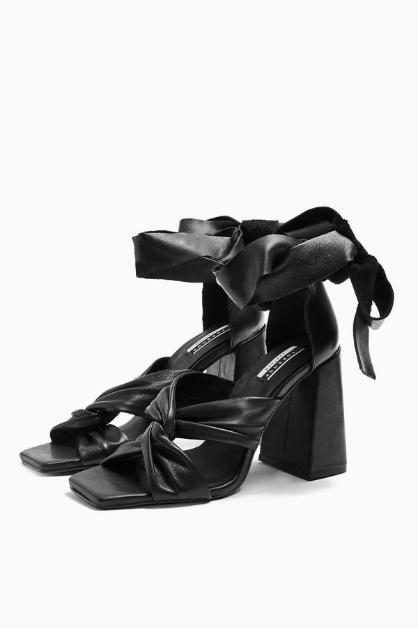 Womens Revolve Leather Black High Sandals - Black