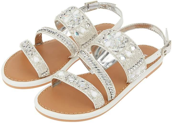 Girls Monsoon White Indiana Asymetric Iridescent Sandal