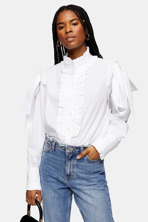 Womens White Poplin Ruffle Bow Blouse - White