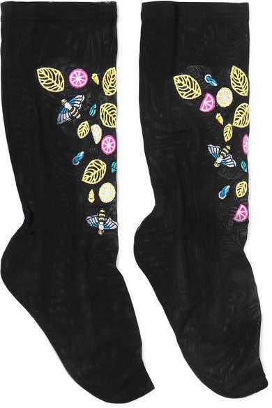 Falke FALKE - Embroidered Stretch-tulle Socks - Black