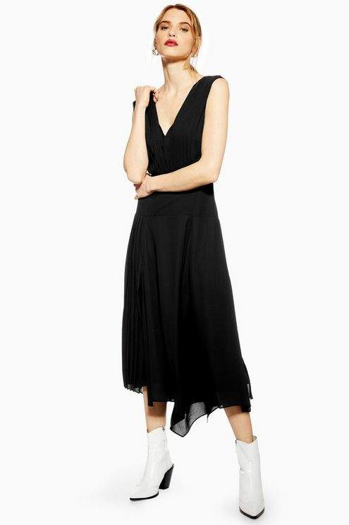 Topshop Womens Pleated Pinafore Dress - Black