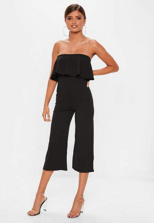 Black Double Layer Culotte Jumpsuit, Black
