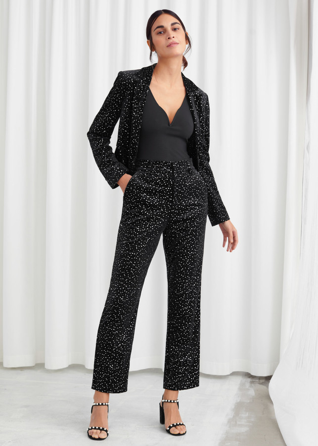 Tailored Velvet Sequined Trousers