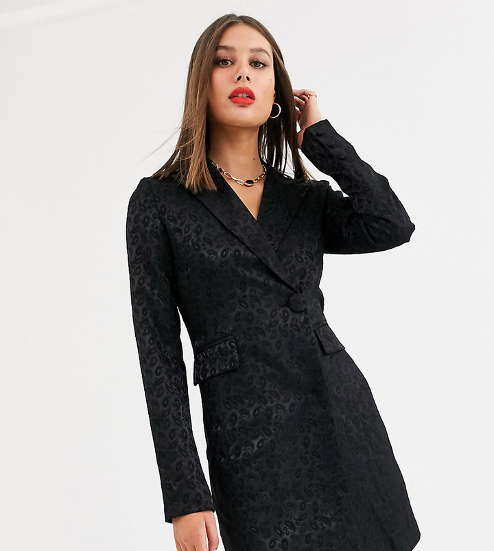 Fashion Union Tall tailored blazer dress in black paisley jacquard