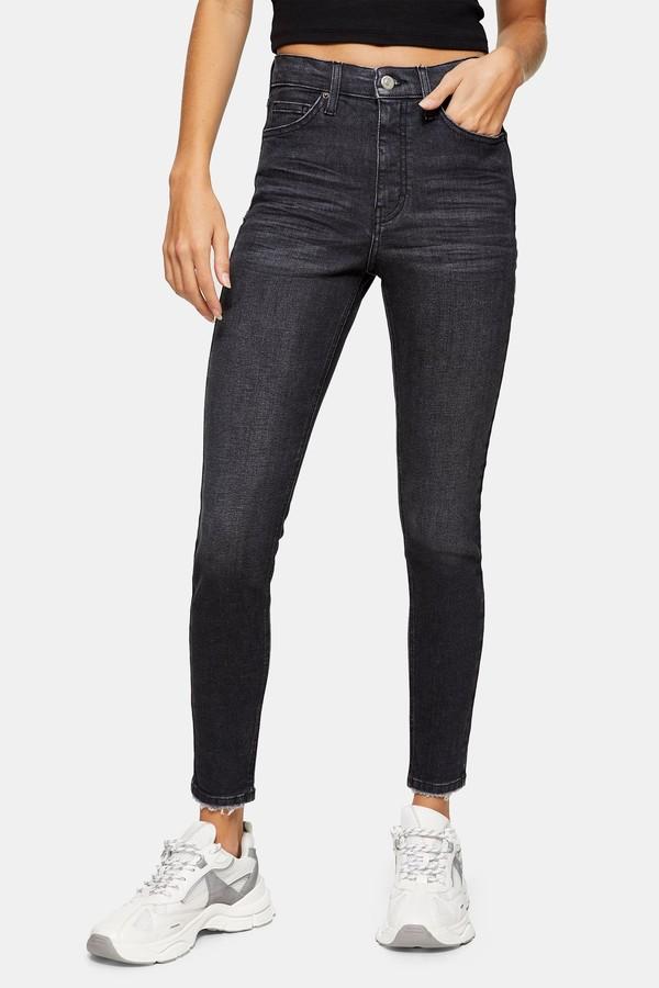 Womens Washed Black Abraided Hem Jamie Skinny Jeans - Washed Black