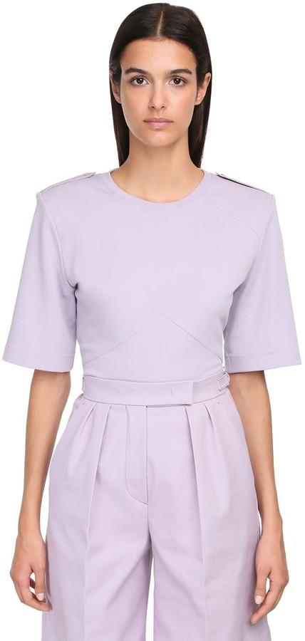 Max Mara Cotton Jersey T-shirt W/ Shoulder Pads