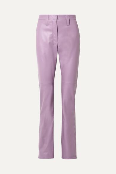Miu Miu - Leather Straight-leg Pants - Lilac