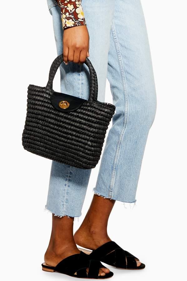 Topshop Womens Black Finch Straw Mini Tote Bag - Black