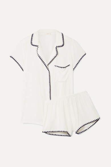 Eberjey - Frida Whipstitched Stretch-modal Jersey Pajama Set - Ivory