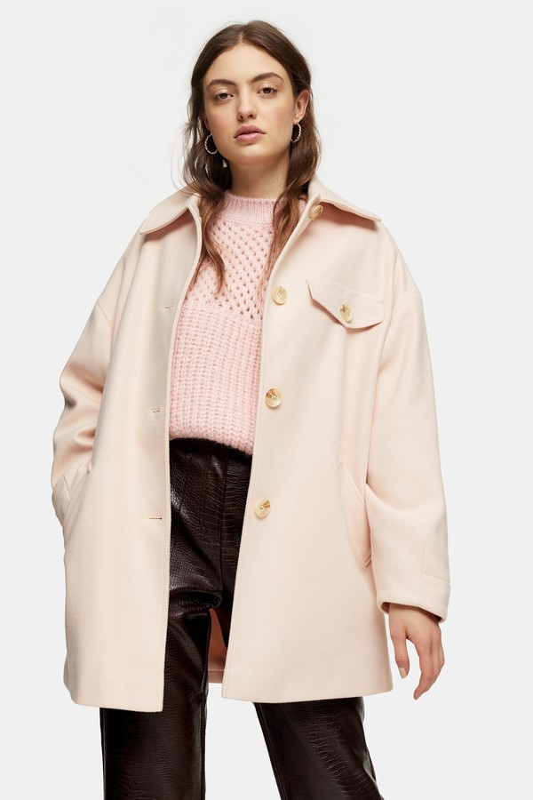 Topshop Womens Pale Pink Shacket - Pale Pink