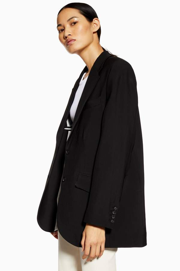 Womens **Wool Rich Ultimate Blazer By Topshop Boutique - Black