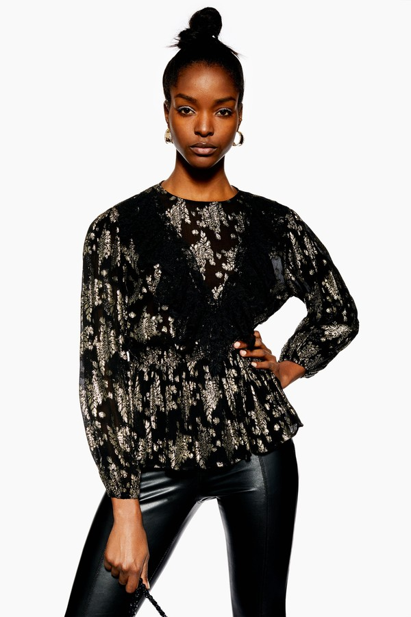 Womens Metallic Jacquard Ruffle Top - Black