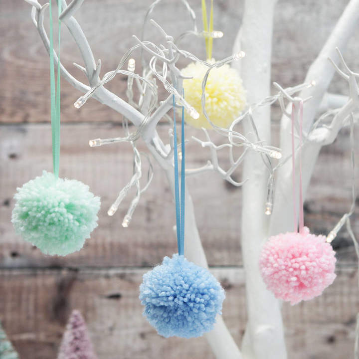 Postbox Party Baby Pastel Woollen Pom Pom Decorations