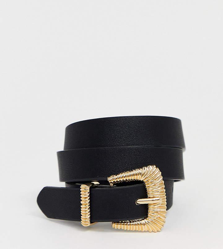 Pieces gold textured buckle belt-Black