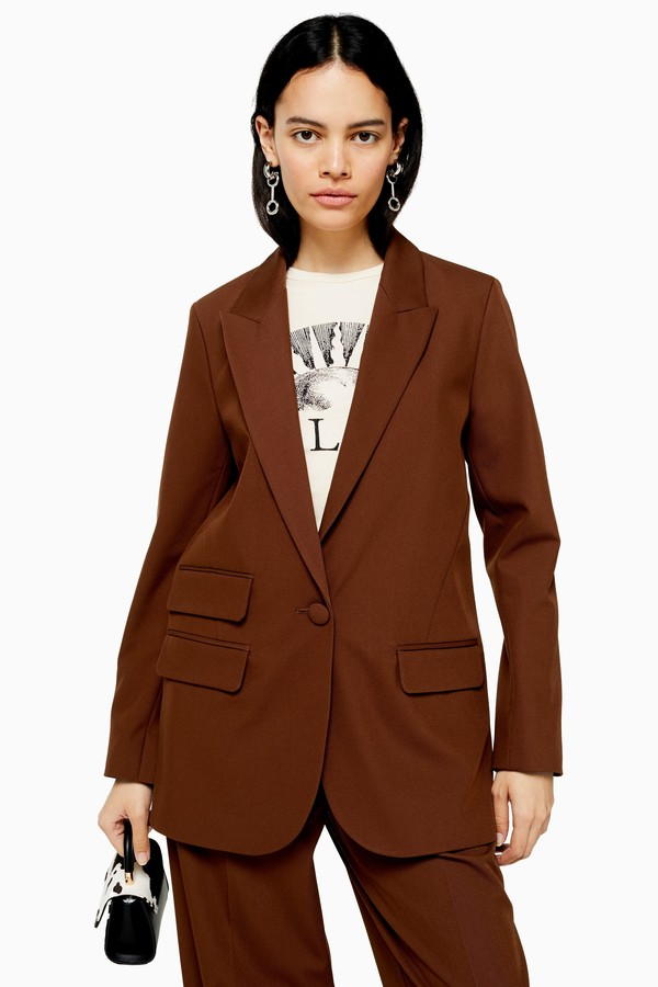 Womens Brown Single Breasted Blazer - Chocolate