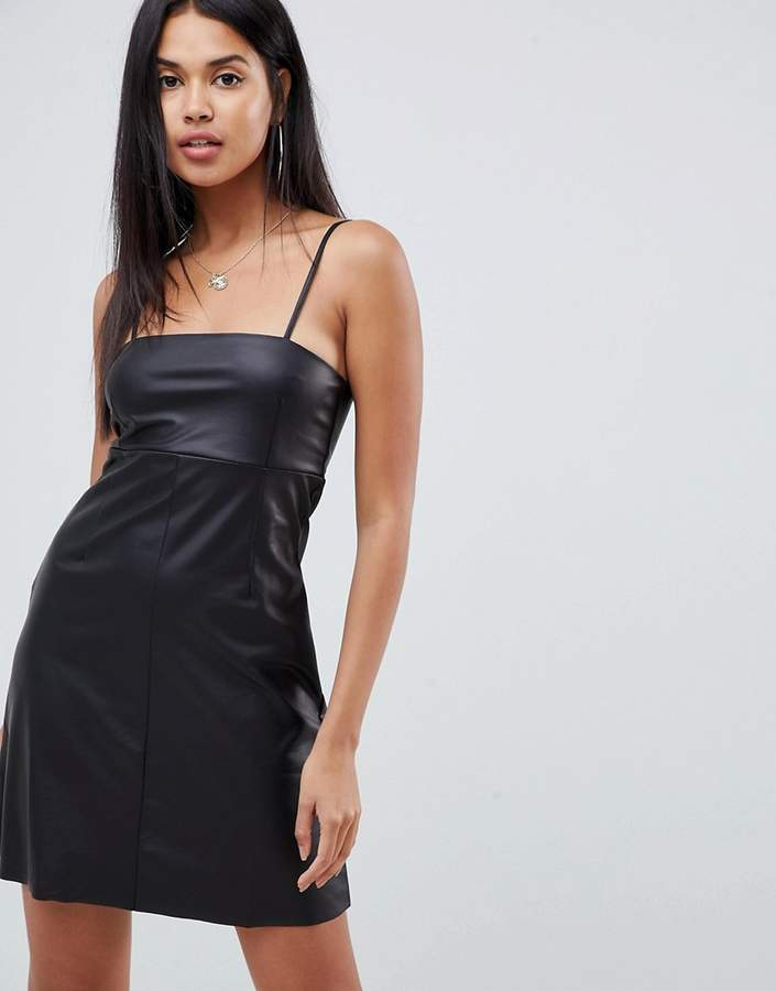 Asos Design ASOS DESIGN faux leather seamed mini dress