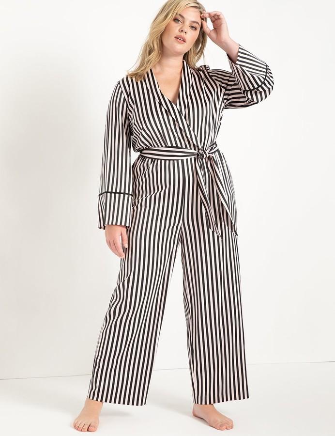 Eloquii - striped pajama jumpsuit