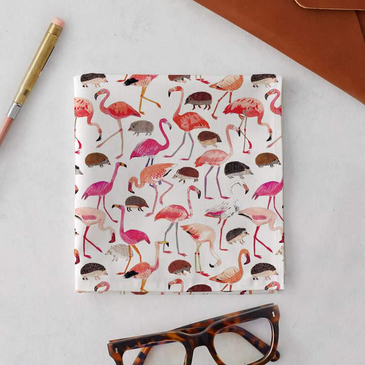 James Barker Flamingos And Hedgehogs Handkerchief Pocket Square