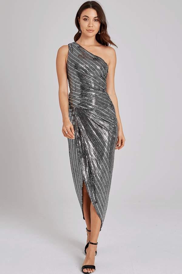 Outlet Girls On Film Ellis Silver One-Shoulder Dress