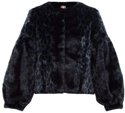 Shrimps - Fergal Leopard-print Faux-fur Jacket - Womens - Navy