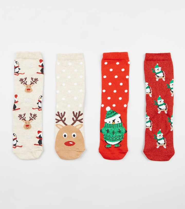 New Look 4 Pack Penguin Reindeer Christmas Socks