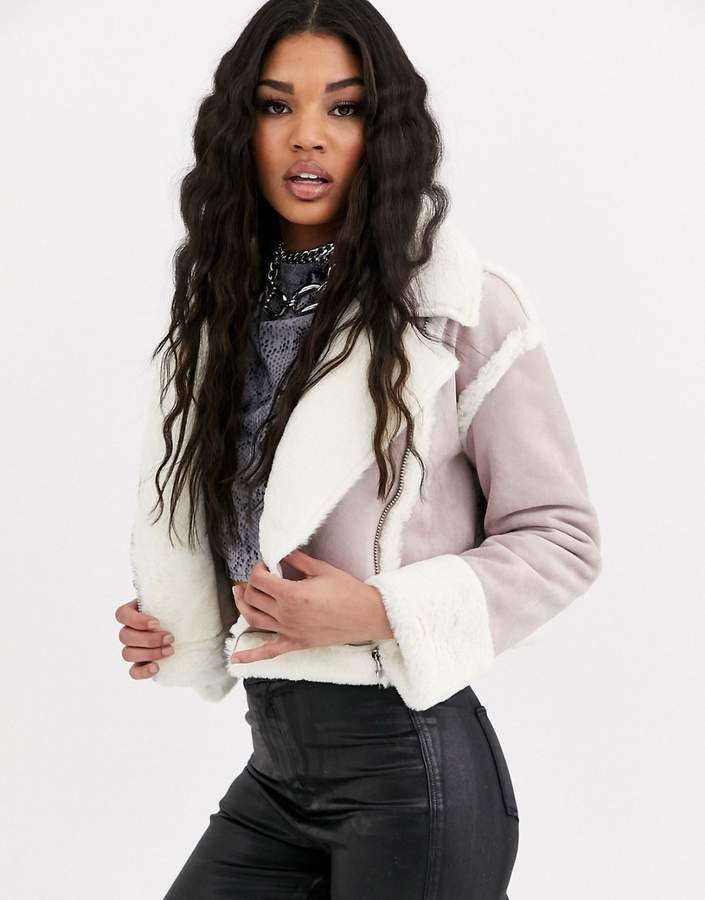 Missguided cropped jacket with borg trims in lilac faux suede-Purple