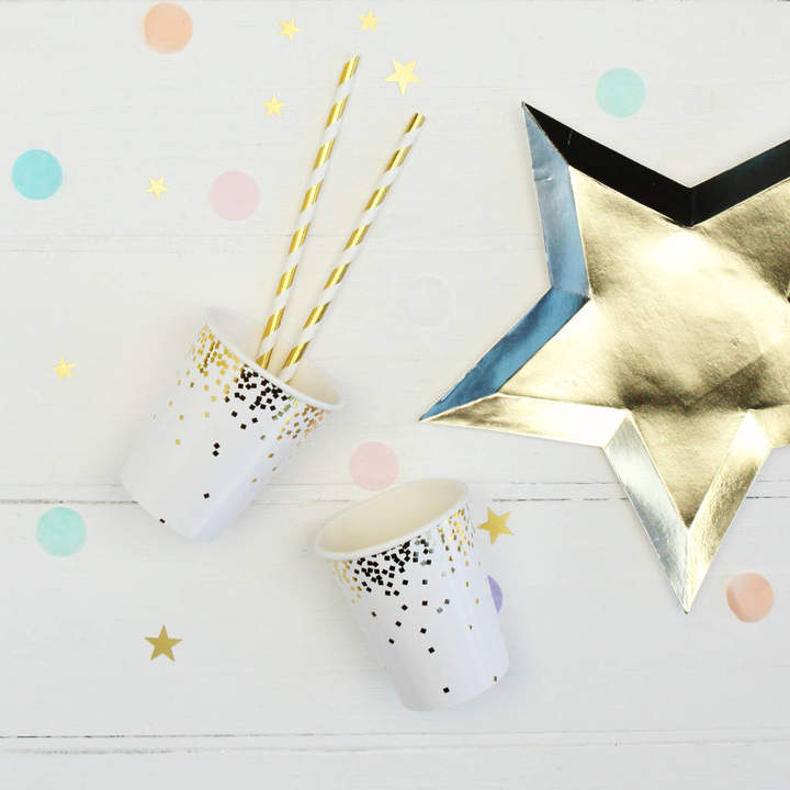 Postbox Party Gold Foil Confetti Party Paper Cups